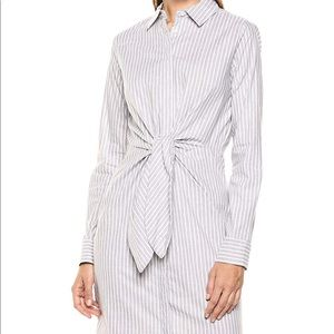 Women's Long Sleeve Shirt Dress with Self Tie
